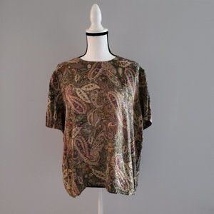 Vintage Anna & Frank 100% Silk Short Sleeve Top XL
